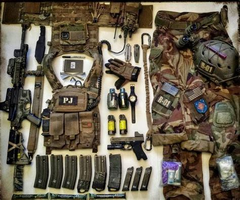 combat gear list notebooks cable and note on