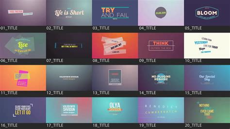 After Effects Template Motion Titles Pack Youtube Motion Title Templates