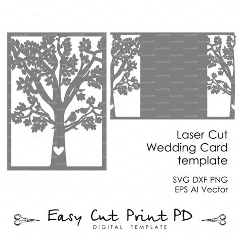 free svg card templates groom tree bird wedding card cover by