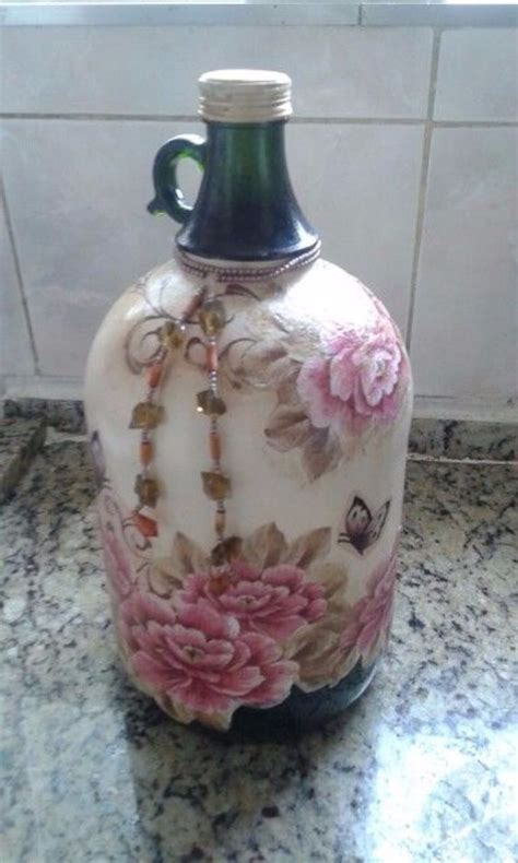 Glass Decoupage - how to decorate glass bottles with decoupage diy recycle