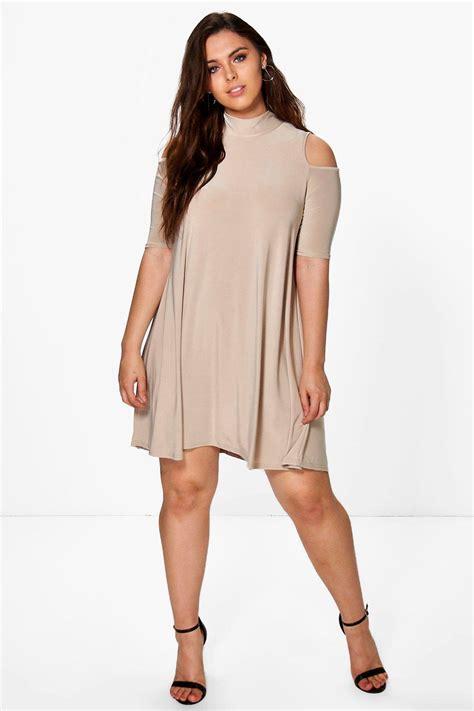 plus swing dress plus jen highneck swing dress at boohoo com
