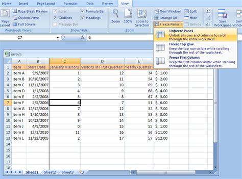 tutorial excel freeze panes to unfreeze a column or row freeze 171 workbook worksheet