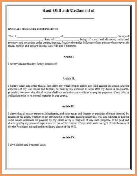 last will and testament blank forms emailformatsle