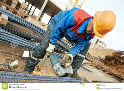 Rebar Worker by Worker Cutting Rebar By Machine Stock Photo Image 50617899