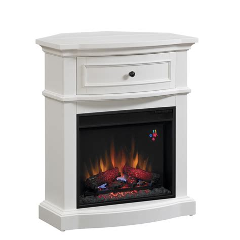 Lowes Corner Fireplace by Shop Chimney Free 32 In W 4 600 Btu White Wood And Metal