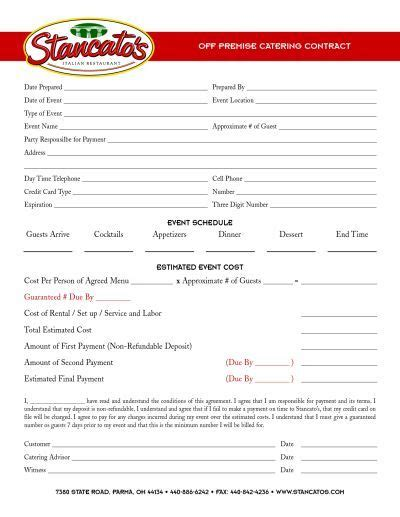 catering contract templates 17 best images about catering business on