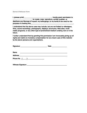 general release form template general release form templates fillable printable