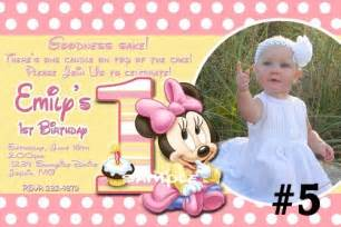 20 printed baby minnie mouse first birthday invitations
