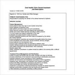 Dentist Description by 9 Dental Assistant Description Templates Free Sle Exle Format Free