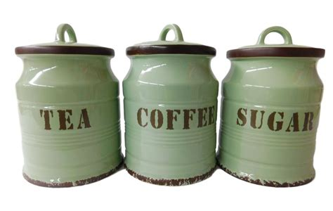 country kitchen canisters green tea coffee sugar