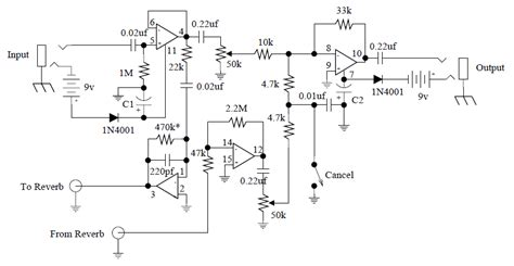 stage center reverb schematic harmonic sweetener guitar effect schematic design