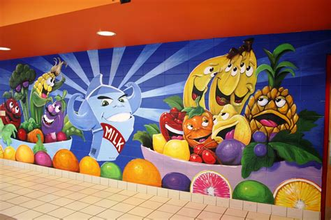 Hand Made Elementary Lunch Room Wall Murals by Patricks