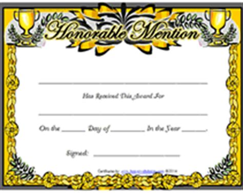 fancy certificate template free printable honorable mention awards certificates templates