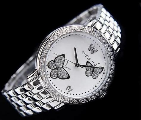 s watches new style guess butterfly silver steel