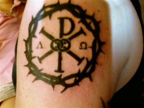 chi rho tattoo chi rho and crown of thorns ideas