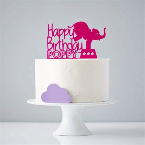 Birthday Cake Toppers by Circus Elephant Personalised Birthday Cake Topper By