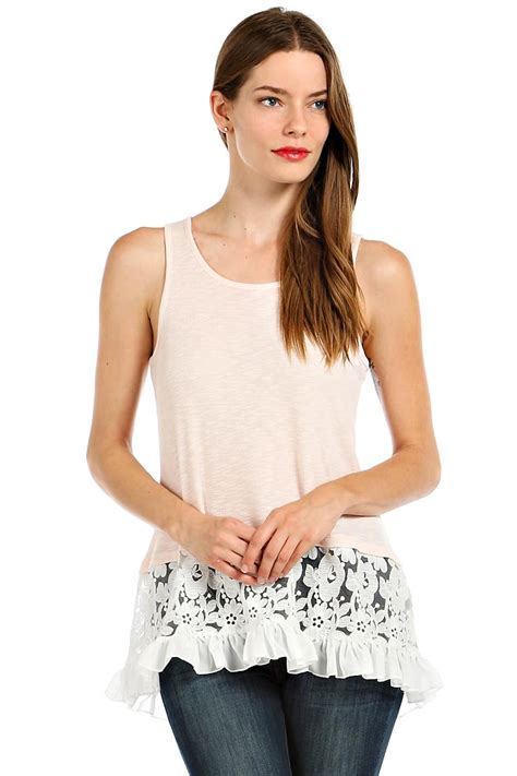 ruffle lace hem accent ribbed tank top