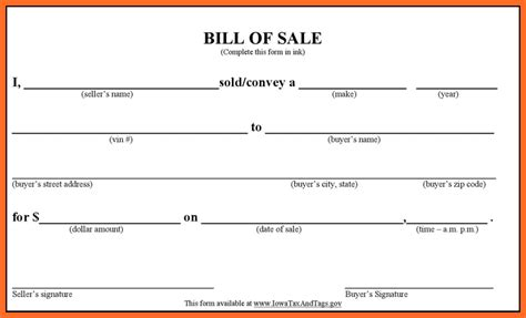 printable blank vehicle bill of sale form blank bill of sale form real estate bill of sale 45 5