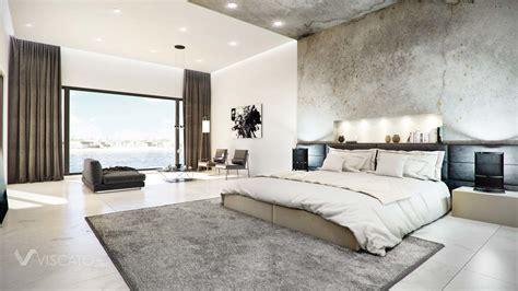 modern rooms concrete finished modern bedroom 3d visualization interior