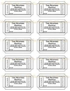 Printable Ball Tickets | printable the reaping raffle tickets guest put their name