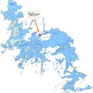 eagle lake canada map fishing at evergreen lodge on eagle lake in