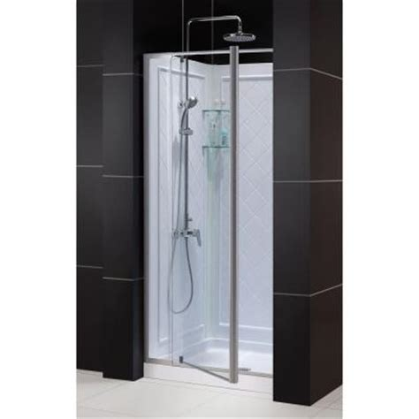 Shower Pan And Door Kits Dreamline Flex 32 In X 76 3 4 In Pivot Shower Door In