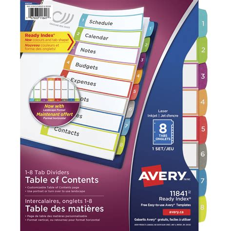 Avery Ready Index Table Of Contents Dividers 8 Tabs Multiple Colors 36 Per Set School Avery 25 Tab Table Of Contents Template