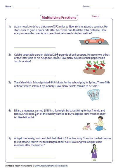 Multiplying Fractions Word Problems Worksheet by Fraction Word Problems Worksheets
