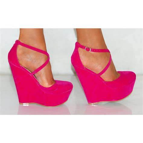 fuchsia pink faux suede criss cross strappy wedge