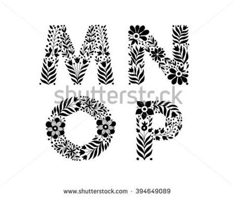floral pattern font hand drawn flower alphabet flower decorative stock vector