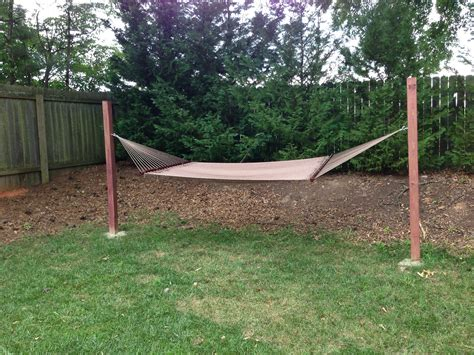 Hammock Posts In Ground i don t trees for a hammock and didn t want a metal frame so just an easy diy project 2