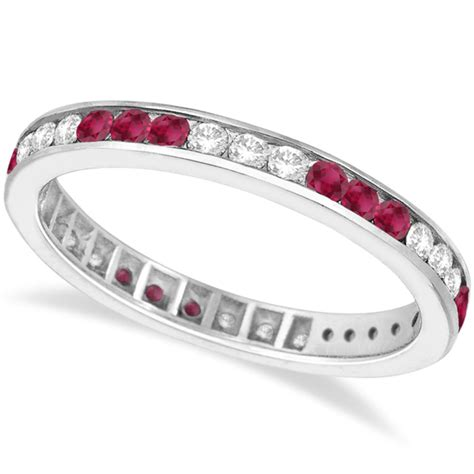 Ruby 9 10ct ruby eternity stack ring band 14k white gold 1