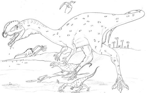 dilophosaurus dinosaur coloring pages sketch coloring page