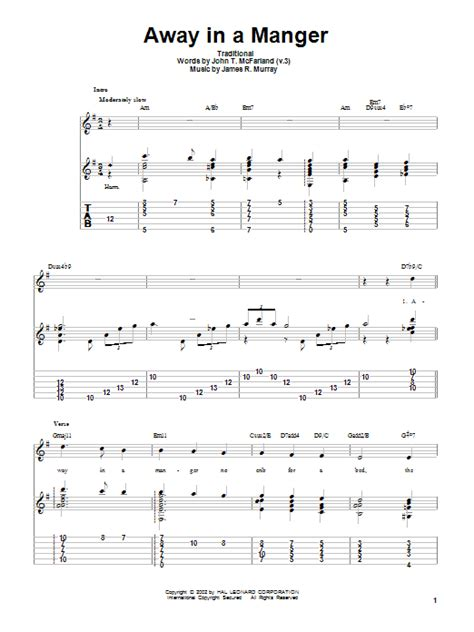 how to play boat drinks on guitar away in a manger sheet music direct