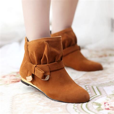 vintage ankle boots womens faux suede bowknot flat