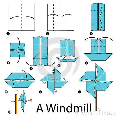 How To Make A Paper Windmill Step By Step - step by step how to make origami a windmill