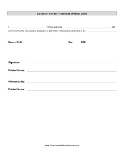 permission to treat form template printable consent treatment minor child