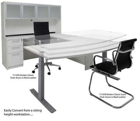 white u shaped desk electric lift adjustable height white u desk w hutch