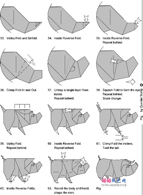 How To Make A Paper Pig - origami pig origami web wanderers