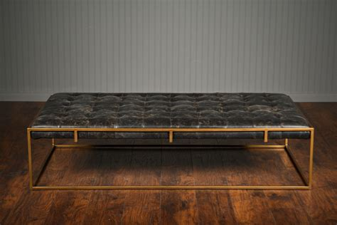 leather tufted ottoman tufted leather coffee table ottoman mecox gardens