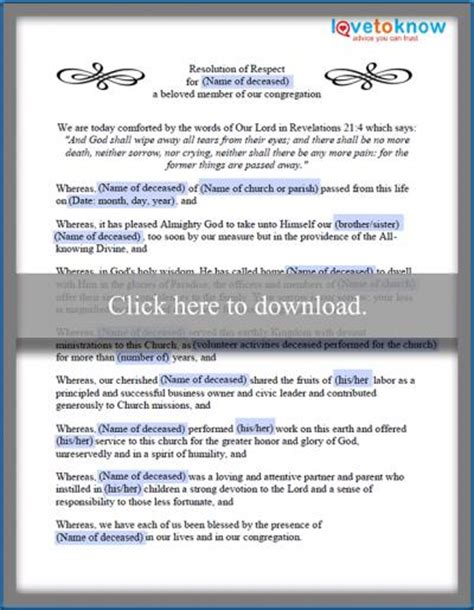 church funeral resolution template exles of funeral resolutions lovetoknow