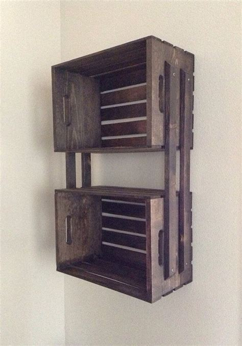 wooden crate shelves sale brown wooden crate hanging 3 shelf wall fixture shelves for bookcase dvd s storage