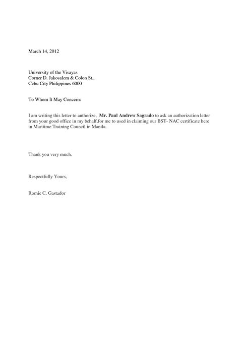 authorization letter template to bank sle of an authorization letter to bank sle bank