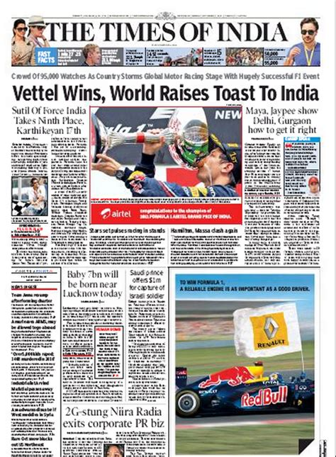 editorial section of times of india the front page of the times of india indian grand prix