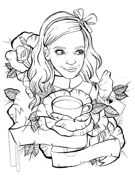 tattoo outline creator alice in wonderland tattoo design outline by ziuuziuu on