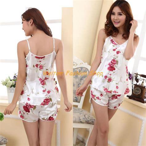 Baju Tidur Pajamas Tsum White New 2013 summer silk white roses sling 2sets