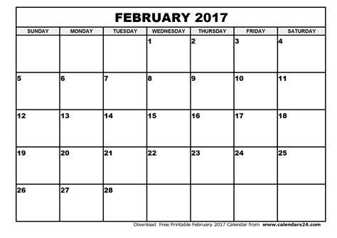 Blank February 2017 Calendar   weekly calendar template