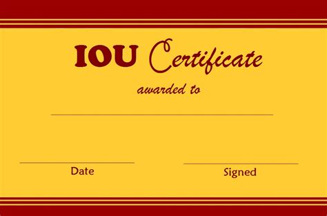 free iou template select and print iou certificates and cards fresh designs