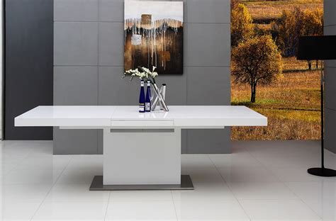 zenith modern white extendable dining table modern