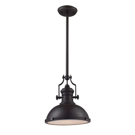 Lowes Lighting Pendants Shop Portfolio 13 In W Oiled Bronze Standard Pendant Light